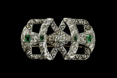 Diamonds Emeralds Platinum and Gold Brooch